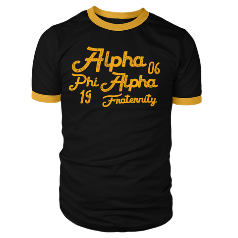 Alpha Phi Alpha Aviator Ringer Tee - Letters Greek Apparel - Black Greek Paraphernalia - Divine Nine Greek Apparel