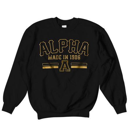 Alpha Phi Alpha Origin Crewneck Sweatshirt - Letters Greek Apparel - Black Greek Paraphernalia - Divine Nine Greek Apparel - Atlanta Greek Store
