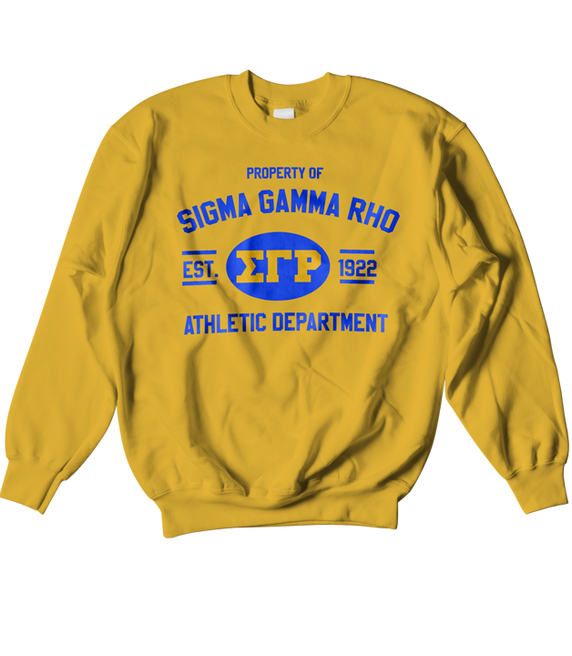 Sigma Gamma Rho Athletic Crewneck Sweatshirt - Letters Greek Apparel - Black Greek Paraphernalia - Divine Nine Greek Apparel - Atlanta Greek Store
