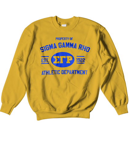 Sigma Gamma Rho Athletic Crewneck Sweatshirt - Letters Greek Apparel - Black Greek Paraphernalia - Divine Nine Greek Apparel