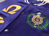 Omega Psi Phi Varsity Greek Fleece Jacket - Letters Greek Apparel - Black Greek Paraphernalia - Divine Nine Greek Apparel - Atlanta Greek Store