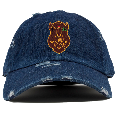Iota Phi Theta Denim Distress Hat - Letters Greek Apparel - Black Greek Paraphernalia - Divine Nine Greek Apparel - Atlanta Greek Store