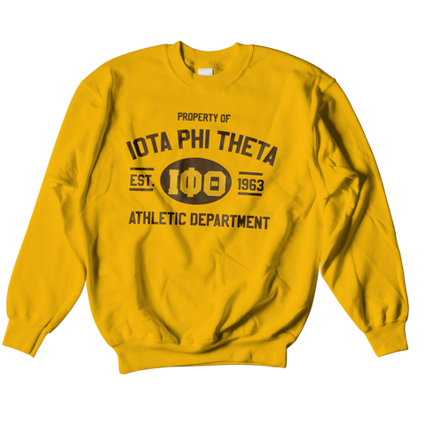 Iota Phi Theta Athletic Crewneck Sweatshirt - Letters Greek Apparel - Black Greek Paraphernalia - Divine Nine Greek Apparel