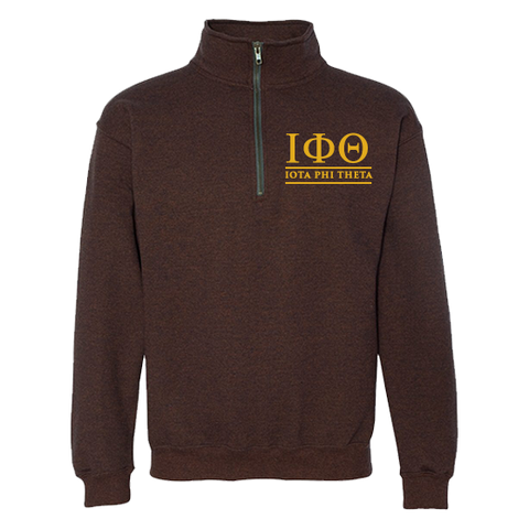 Iota Phi Theta Embroidered Quarter-Zip Sweatshirt - Letters Greek Apparel - Black Greek Paraphernalia - Divine Nine Greek Apparel - Atlanta Greek Store