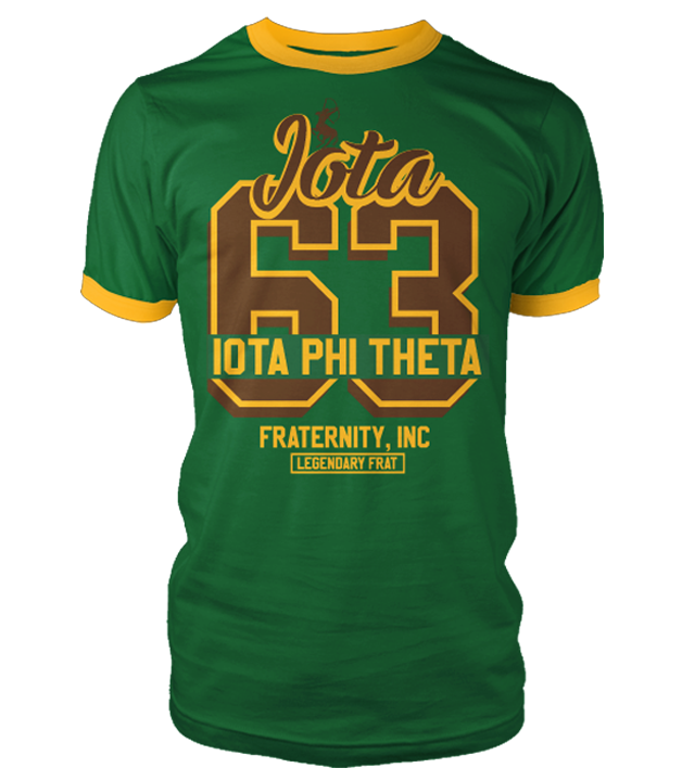 Iota Phi Theta Legendary Ringer T-Shirt - Letters Greek Apparel - Black Greek Paraphernalia - Divine Nine Greek Apparel