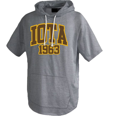Iota Phi Theta Short Sleeve Trainer Hoodie - Letters Greek Apparel - Black Greek Paraphernalia - Divine Nine Greek Apparel - Atlanta Greek Store