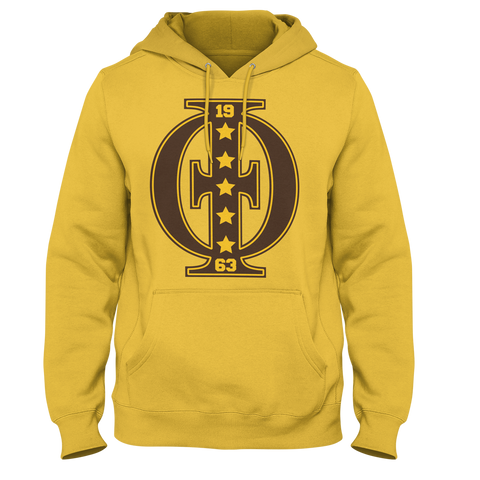 Iota Phi Theta Varsity hoodie (Gold) - Letters Greek Apparel - Black Greek Paraphernalia - Divine Nine Greek Apparel - Atlanta Greek Store