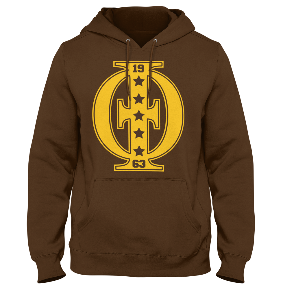 Iota Phi Theta Varsity Hoodie (Brown) - Letters Greek Apparel - Black Greek Paraphernalia - Divine Nine Greek Apparel