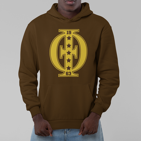 Iota Phi Theta Varsity Hoodie (Brown) - Letters Greek Apparel - Black Greek Paraphernalia - Divine Nine Greek Apparel - Atlanta Greek Store