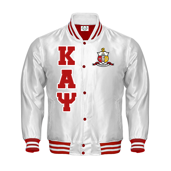 7ef875986 Kappa Alpha Psi Satin Bomber Jacket (White)