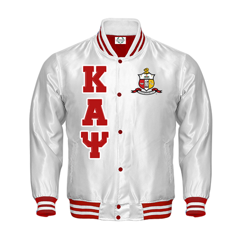 Kappa Alpha Psi Satin Bomber Jacket (White)