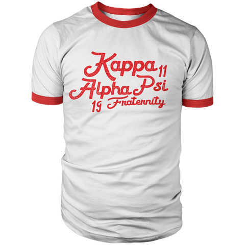 Kappa Alpha Psi Aviator Ringer T-Shirt - Letters Greek Apparel - Black Greek Paraphernalia - Divine Nine Greek Apparel