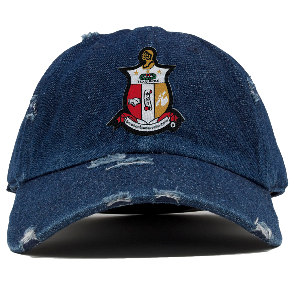 Kappa Alpha Psi Denim Distressed Hat - Letters Greek Apparel - Black Greek Paraphernalia - Divine Nine Greek Apparel