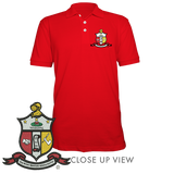 Kappa Alpha Psi Embroidered Crest Polo - Letters Greek Apparel - Black Greek Paraphernalia - Divine Nine Greek Apparel