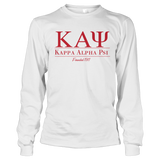 Kappa Alpha Psi Collegiate Long Sleeve - Letters Greek Apparel - Black Greek Paraphernalia - Divine Nine Greek Apparel