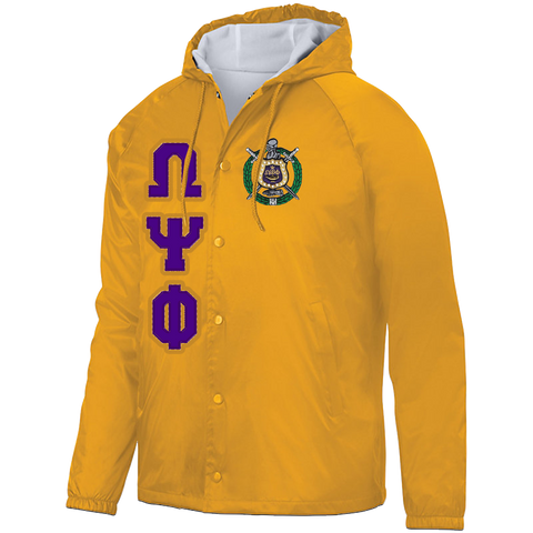 Omega Psi Phi Hooded Crossing Jacket - Letters Greek Apparel - Black Greek Paraphernalia - Divine Nine Greek Apparel