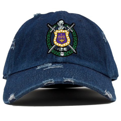 Omega Psi Phi Denim Distressed Hat - Letters Greek Apparel - Black Greek Paraphernalia - Divine Nine Greek Apparel