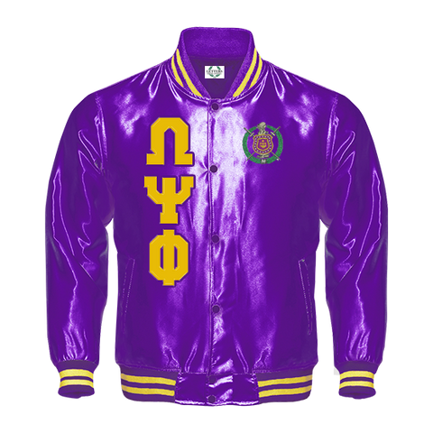 Omega Psi Phi Satin Baseball Bomber Jacket - Letters Greek Apparel - Black Greek Paraphernalia - Divine Nine Greek Apparel