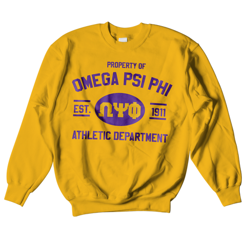 Omega Psi Phi Athletic Crewneck Sweatshirt - Letters Greek Apparel - Black Greek Paraphernalia - Divine Nine Greek Apparel
