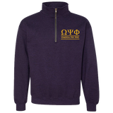 Omega Psi Phi Embroidered Quarter-Zip Sweatshirt - Letters Greek Apparel - Black Greek Paraphernalia - Divine Nine Greek Apparel - Atlanta Greek Store