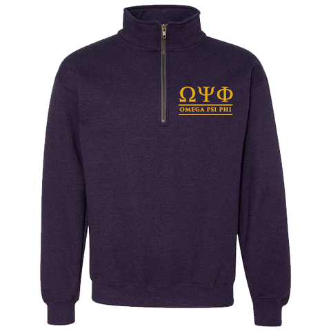 Omega Psi Phi Embroidered Quarter-Zip Sweatshirt - Letters Greek Apparel - Black Greek Paraphernalia - Divine Nine Greek Apparel