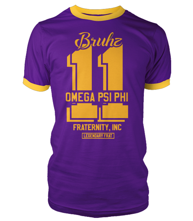 Legendary Omega Psi Phi Ringer T-Shirt - Letters Greek Apparel - Black Greek Paraphernalia - Divine Nine Greek Apparel