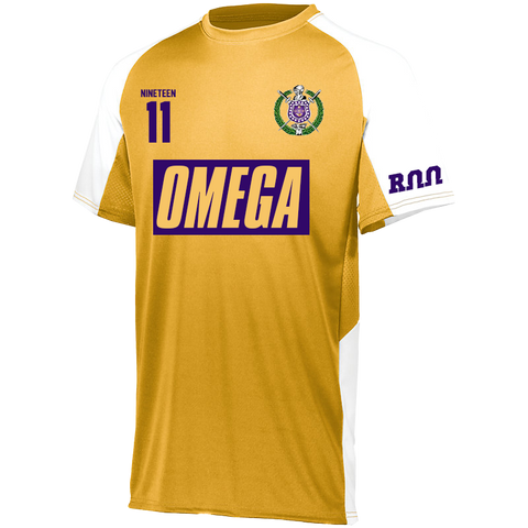 Omega Psi Phi Home Soccer Jersey - Letters Greek Apparel - Black Greek Paraphernalia - Divine Nine Greek Apparel