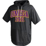 Omega Psi Phi Short Sleeve Trainer Hoodie - Letters Greek Apparel - Black Greek Paraphernalia - Divine Nine Greek Apparel