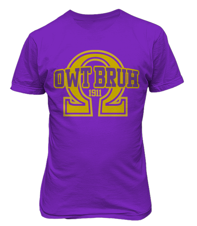 Omega Psi Phi OWT Bruh T-Shirt - Letters Greek Apparel - Black Greek Paraphernalia - Divine Nine Greek Apparel - Atlanta Greek Store