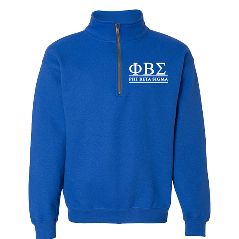 Phi Beta Sigma Quarter-zip Sweatshirt - Letters Greek Apparel - Black Greek Paraphernalia - Divine Nine Greek Apparel