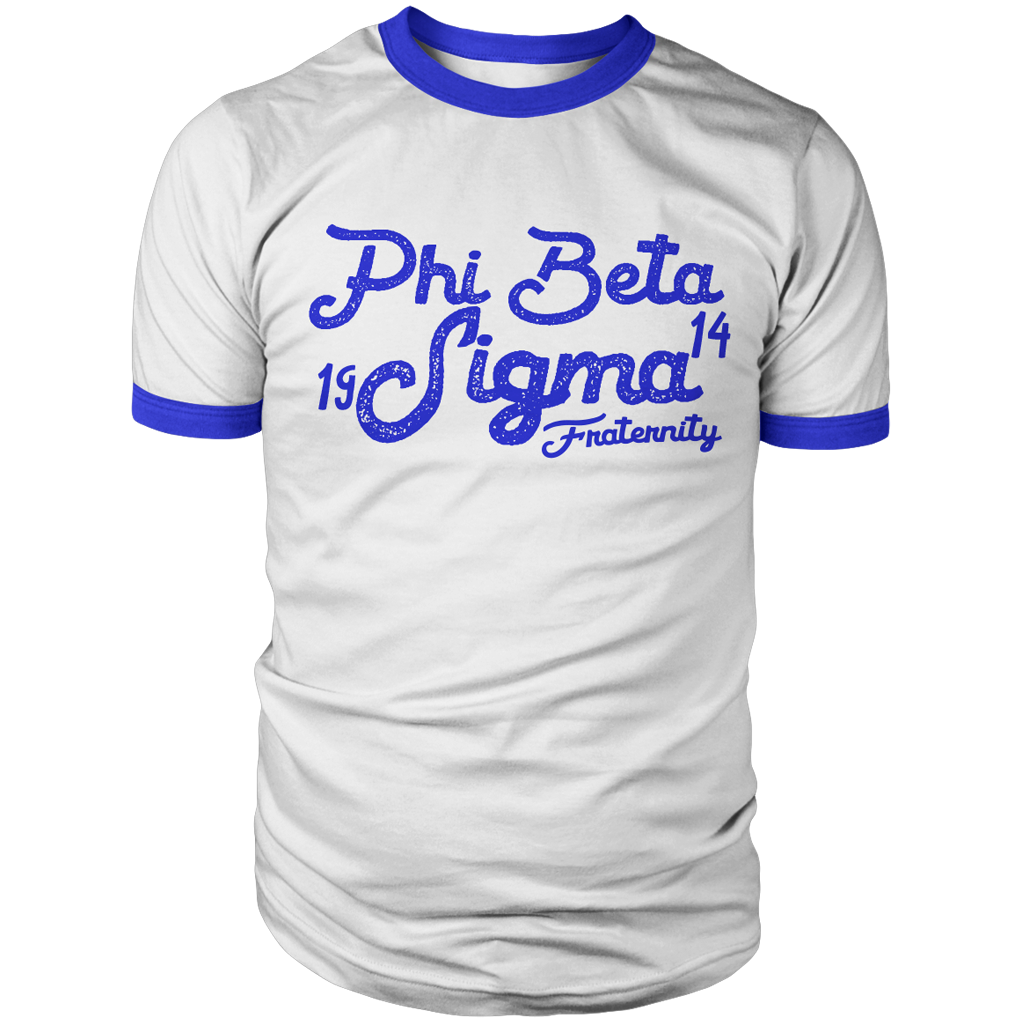 Phi Beta Sigma Aviator Ringer Tee - Letters Greek Apparel - Black Greek Paraphernalia - Divine Nine Greek Apparel