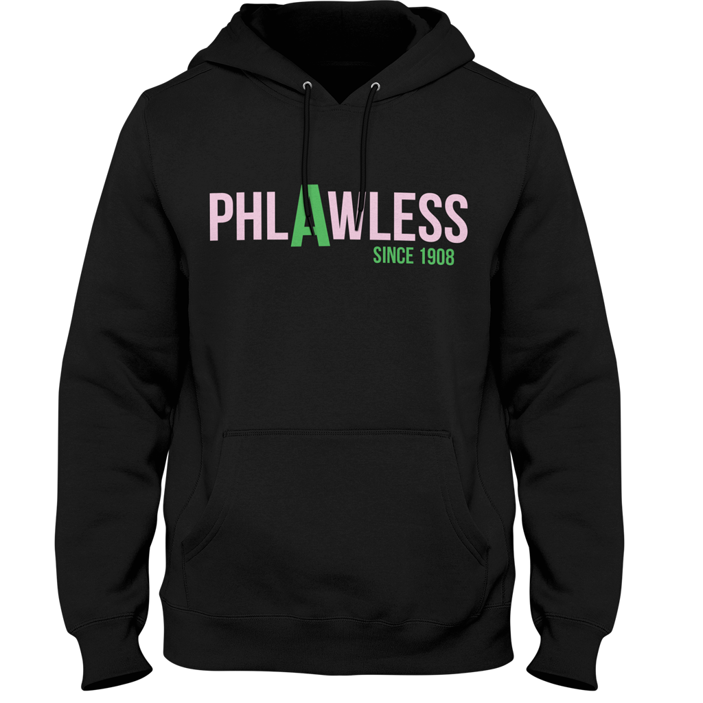 Alpha Kappa Alpha Phlawless Hoodie - Letters Greek Apparel - Black Greek Paraphernalia - Divine Nine Greek Apparel