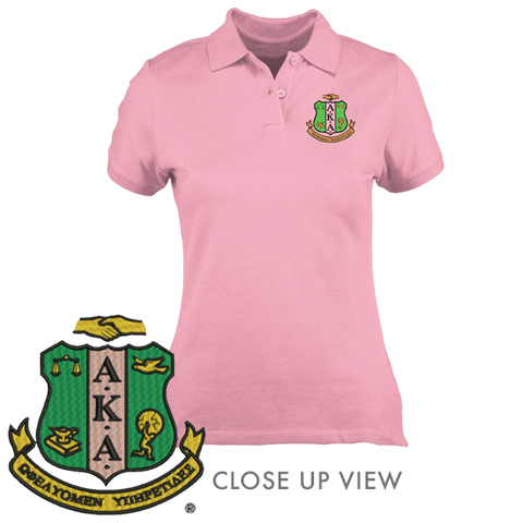 Alpha Kappa Alpha Embroidered Crest Polo