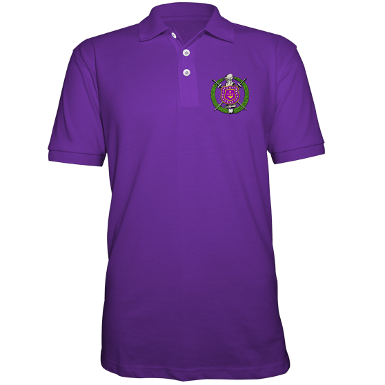9f79975b71a78 Omega Psi Phi Embroidered Fraternity Crest Polo – Letters Greek Apparel