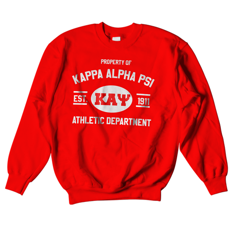 Kappa Alpha Psi Athletic Crewneck Sweatshirt - Letters Greek Apparel - Black Greek Paraphernalia - Divine Nine Greek Apparel