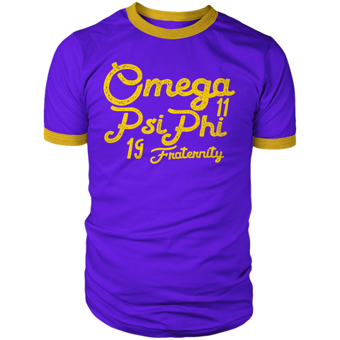 Omega Psi Phi Aviator Ringer T-Shirt - Letters Greek Apparel - Black Greek Paraphernalia - Divine Nine Greek Apparel