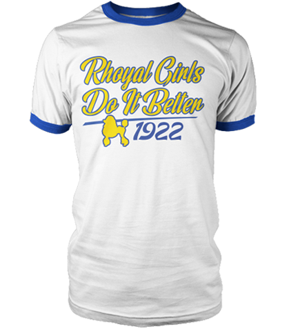 Sigma Gamma Rho Do It Better Ringer T-Shirt - Letters Greek Apparel - Black Greek Paraphernalia - Divine Nine Greek Apparel