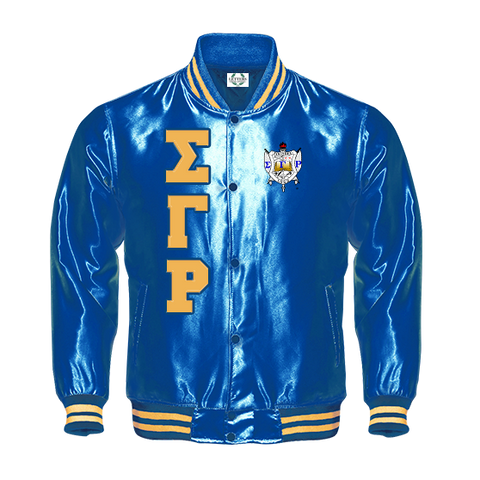 Sigma Gamma Rho Satin Baseball Bomber Jacket - Letters Greek Apparel - Black Greek Paraphernalia - Divine Nine Greek Apparel