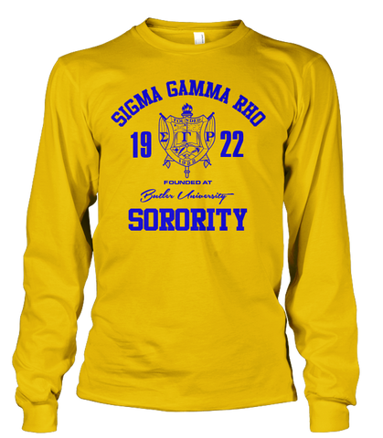 Sigma Gamma Rho Roots Long Sleeve T-Shirt - Letters Greek Apparel - Black Greek Paraphernalia - Divine Nine Greek Apparel