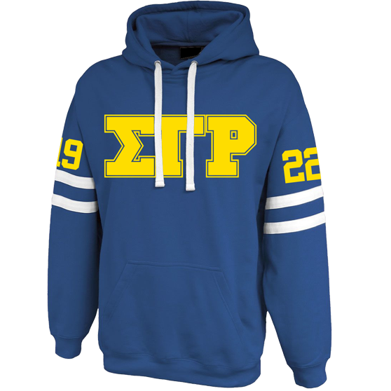 Sigma Gamma Rho Twin-Streak Hoodie - Letters Greek Apparel - Black Greek Paraphernalia - Divine Nine Greek Apparel