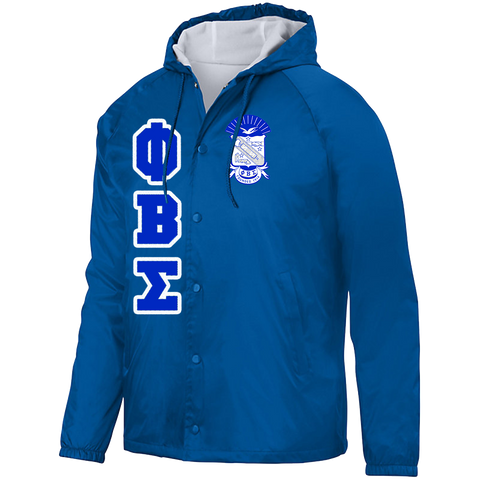 Phi Beta Sigma Hooded Crossing Jacket - Letters Greek Apparel - Black Greek Paraphernalia - Divine Nine Greek Apparel