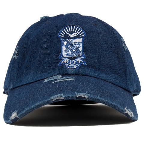 Phi Beta Sigma Denim Distress Hat - Letters Greek Apparel - Black Greek Paraphernalia - Divine Nine Greek Apparel
