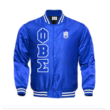Phi Beta Sigma Satin Baseball Bomber Jacket - Letters Greek Apparel - Black Greek Paraphernalia - Divine Nine Greek Apparel - Atlanta Greek Store
