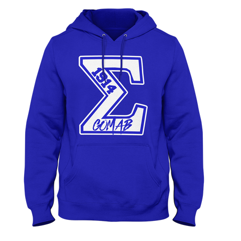 Phi Beta Sigma Varsity Hoodie (Blue) - Letters Greek Apparel - Black Greek Paraphernalia - Divine Nine Greek Apparel