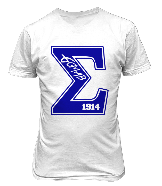 Sigma Varsity Tee - White - Letters Greek Apparel-Black Greek Paraphernalia-Divine Nine Apparel