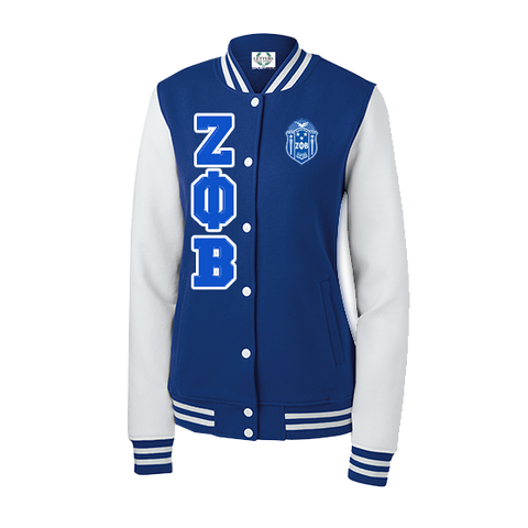 Zeta Phi Beta Varsity Fleece Jacket - Letters Greek Apparel - Black Greek Paraphernalia - Divine Nine Greek Apparel