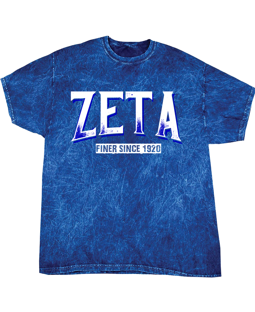 Zeta Phi Beta Vintage Mineral Wash T-Shirt - Letters Greek Apparel - Black Greek Paraphernalia - Divine Nine Greek Apparel - Atlanta Greek Store