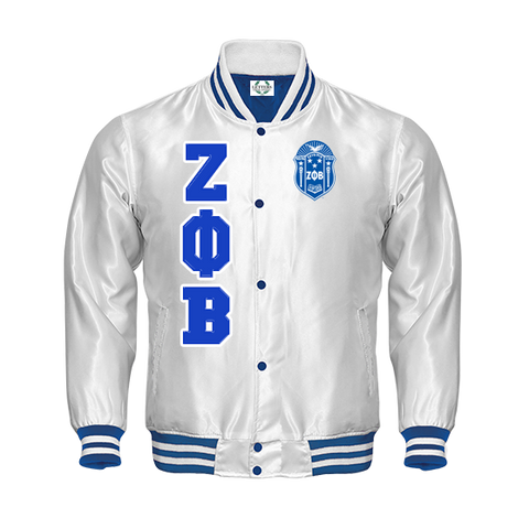 Zeta Phi Beta Satin Baseball Bomber Jacket (White)