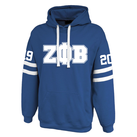 Zeta Phi Beta Twin-Streak Hoodie - Letters Greek Apparel - Black Greek Paraphernalia - Divine Nine Greek Apparel