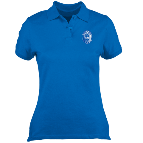 Zeta Phi Beta Embroidered Crest Polo - Letters Greek Apparel - Black Greek Paraphernalia - Divine Nine Greek Apparel